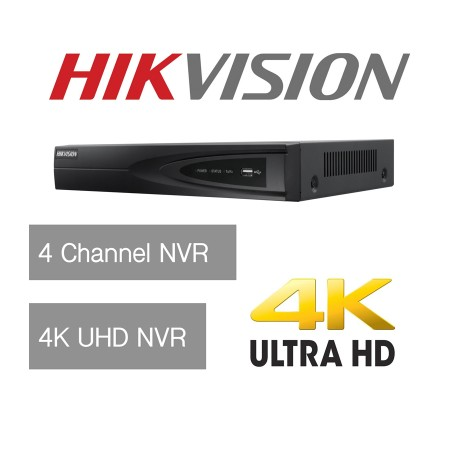 Hikvision 4 Channel Ultra HD 4K UHD Network NVR 8MP 4 PoE 4CH CCTV Recorder NEW
